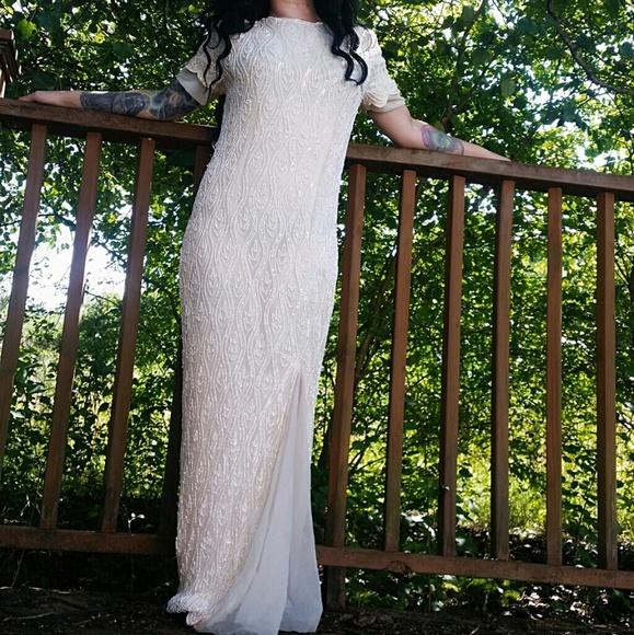 Vintage BEIGE Beaded Gown Size 8 Stenay